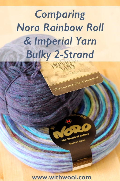 Pencil roving can be spun, knit, or woven into beautiful things. This review gives a head to head comparison of 2 different pencil rovings, Noro Rainbow Roll and Imperial Bulky 2-Strand. | Review: Comparing Noro Rainbow Roll and Imperial Yarn Bulky 2-Strand Pencil Roving