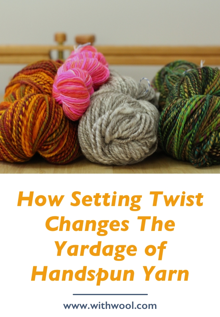 Every yard of handspun yarn is a wonderful thing, but you might not have as much as you think. Finishing and setting the twist of handspun can drastically reduce your yardage. How Setting The Twist Can Change The Yardage of Handspun Yarn | withwool.com