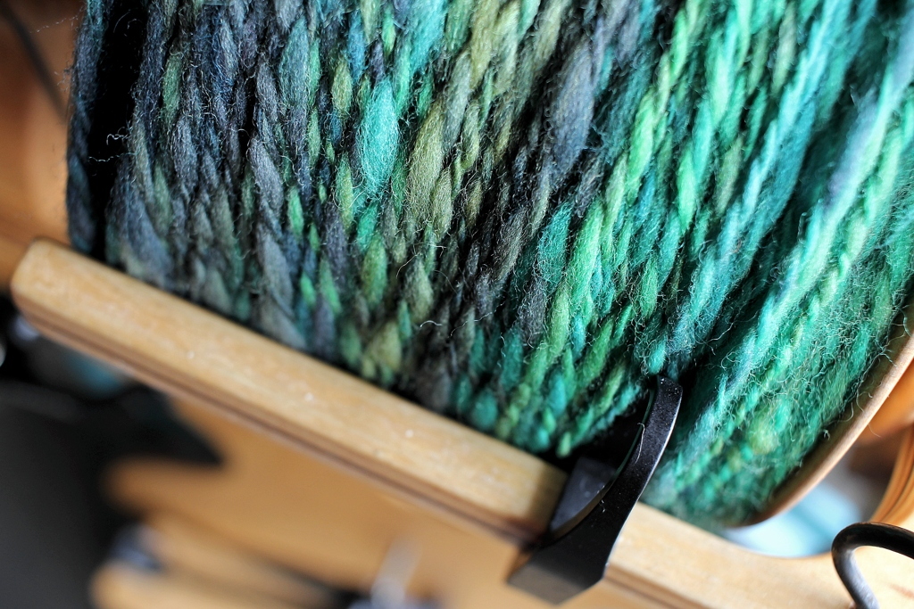 So much yarn! I had to hand wind the handspun to get it all on the bobbin. Worth it. #TourdeFleece | withwool.com