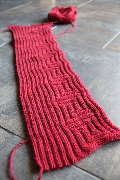 Halfway finished knitting a scarf for the 2017 Red Scarf Project! | withwool.com