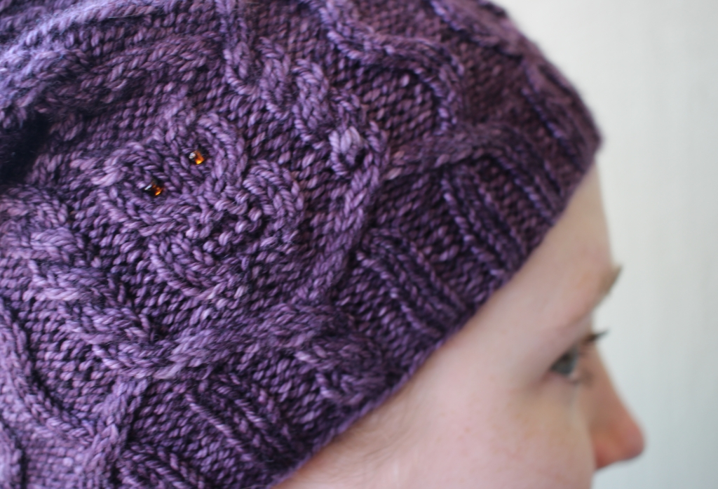 The Owl In the Thicket is my new favorite hat! Cables, owls, beads, cashmere - what's not to love? | withwool.com