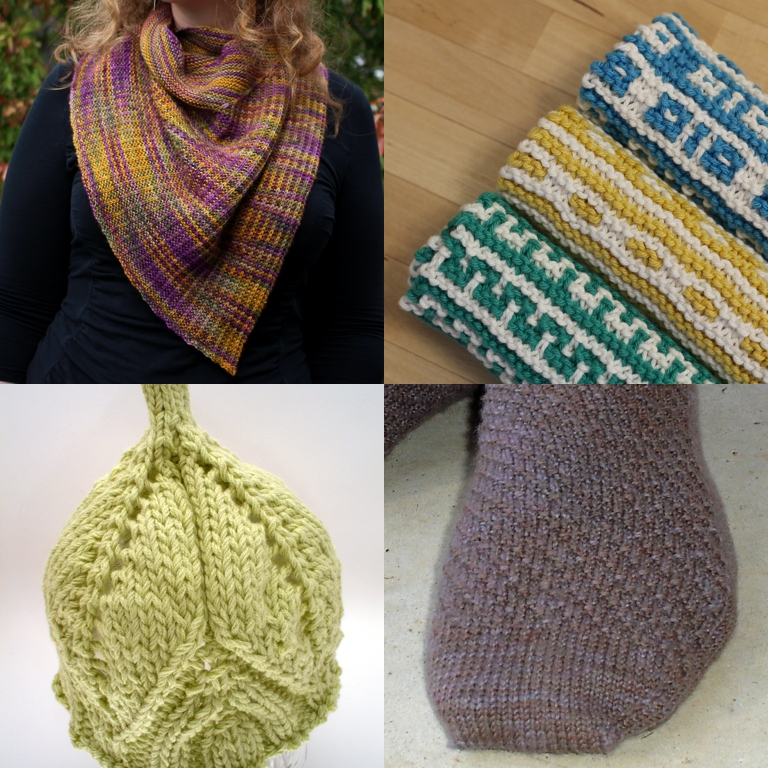 A compilation of my knitting patterns from top to bottom: The Odd Couple Shawl, The Mosaic Sisters dishtowel set; Sapling baby hat; and Diagonal Socks. Available on Ravelry.com || withwool.com