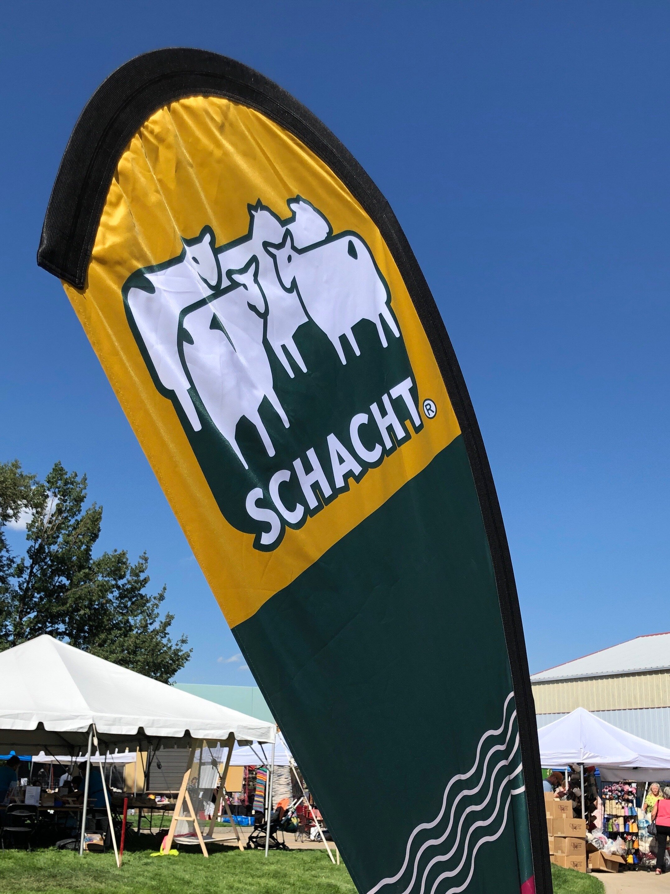 The Schacht banner welcoming visitors to the festivities. Celebrating Schacht's 50th Anniversary || withwool.com  #schacht50years