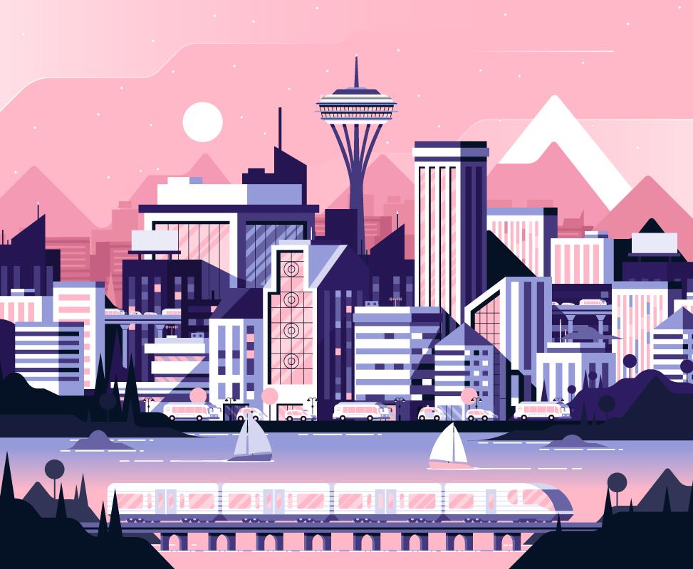 Стилизованная картинка город