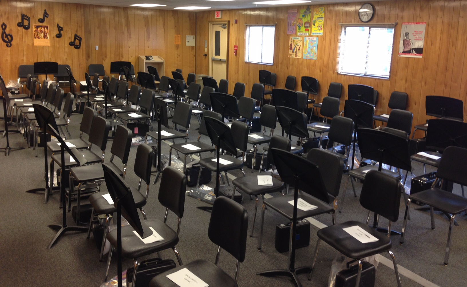 Beginning band classes can be so large. This is my classroom on the first day of band a few years back. That's 66 chairs - just for clarinet and saxophone students!