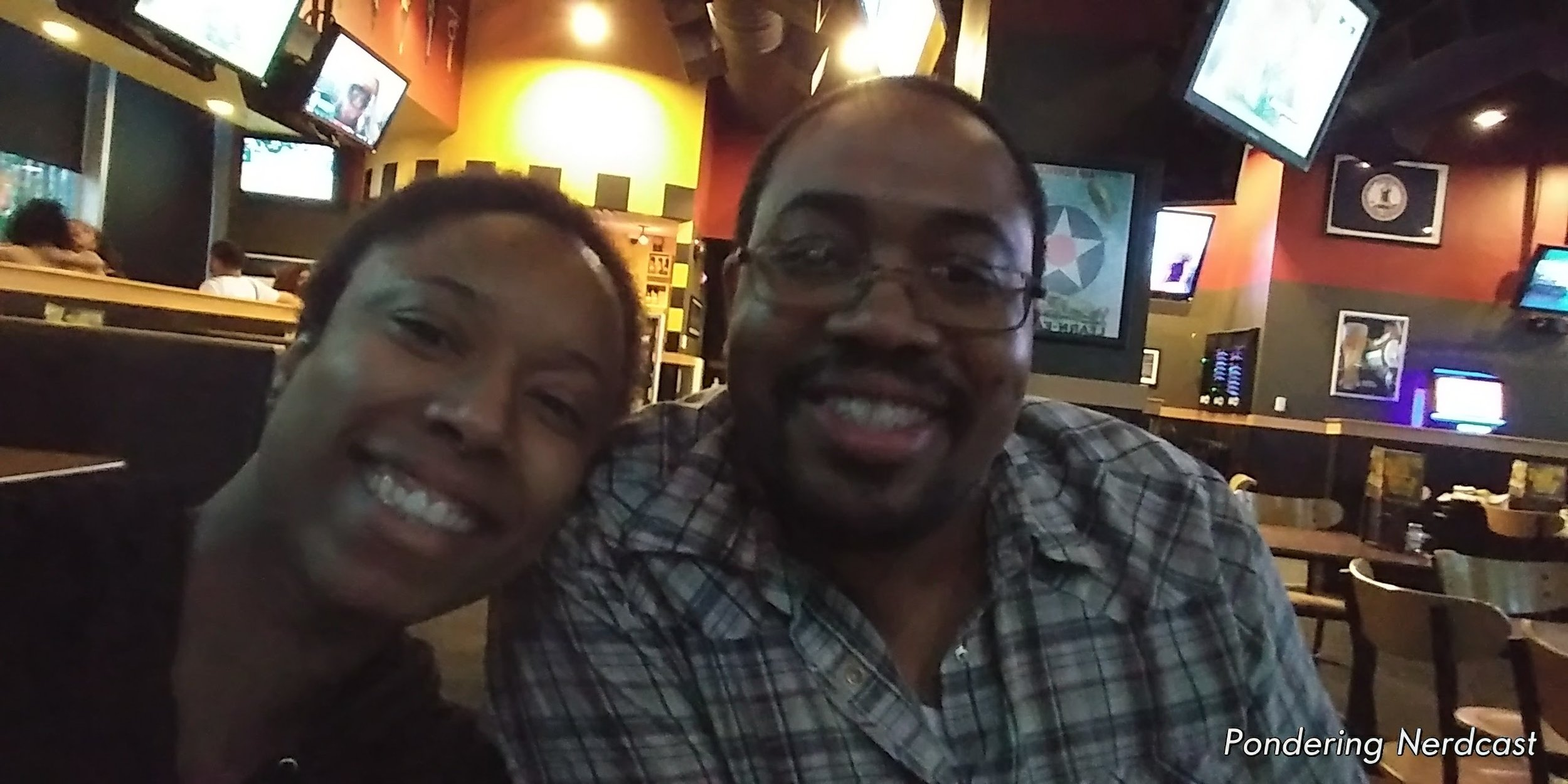 Myself (Meke) and Lance are all smiles before eating at a shitty Buffalo Wild Wings