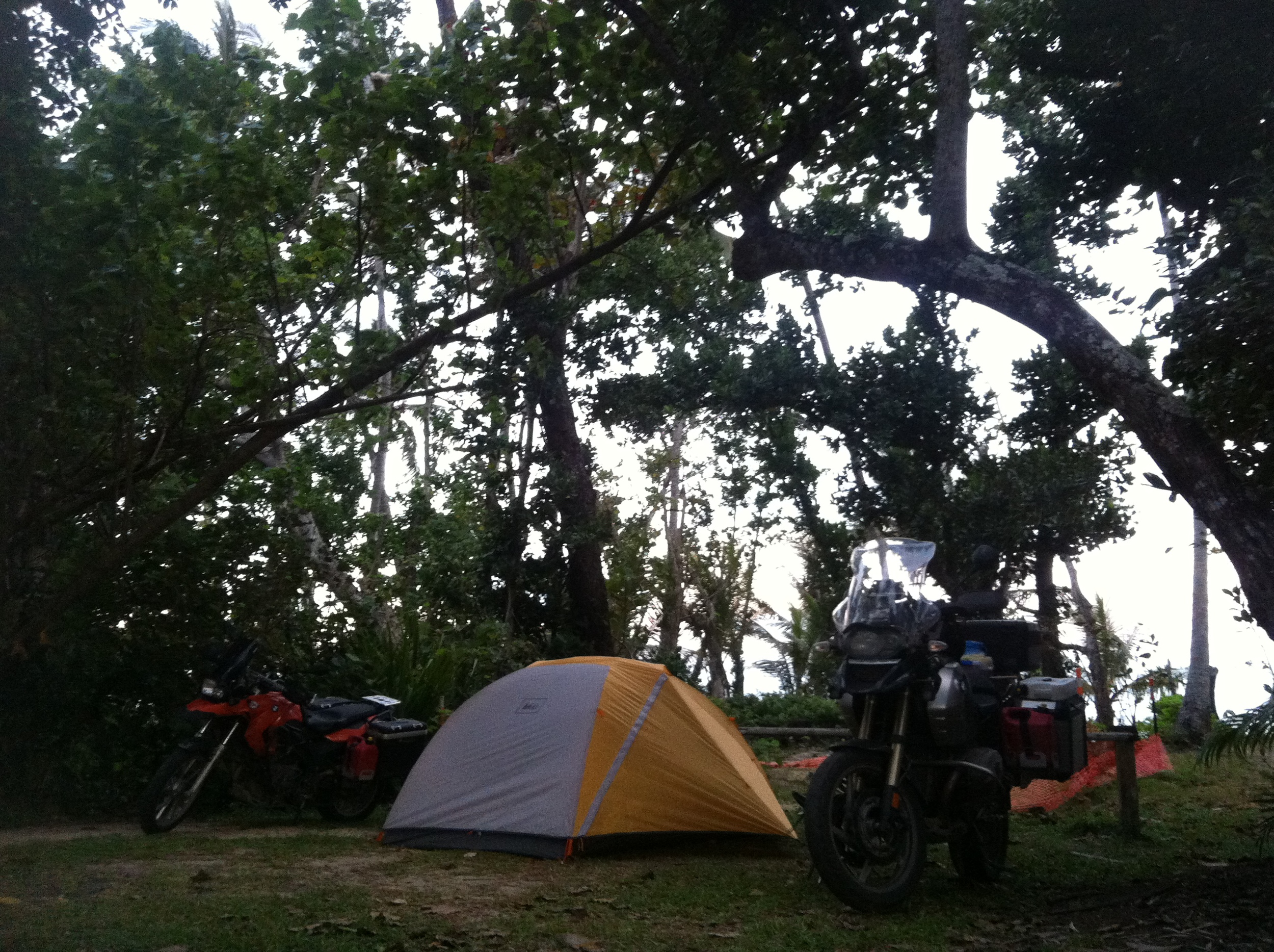 Our campsite at Mission Beach