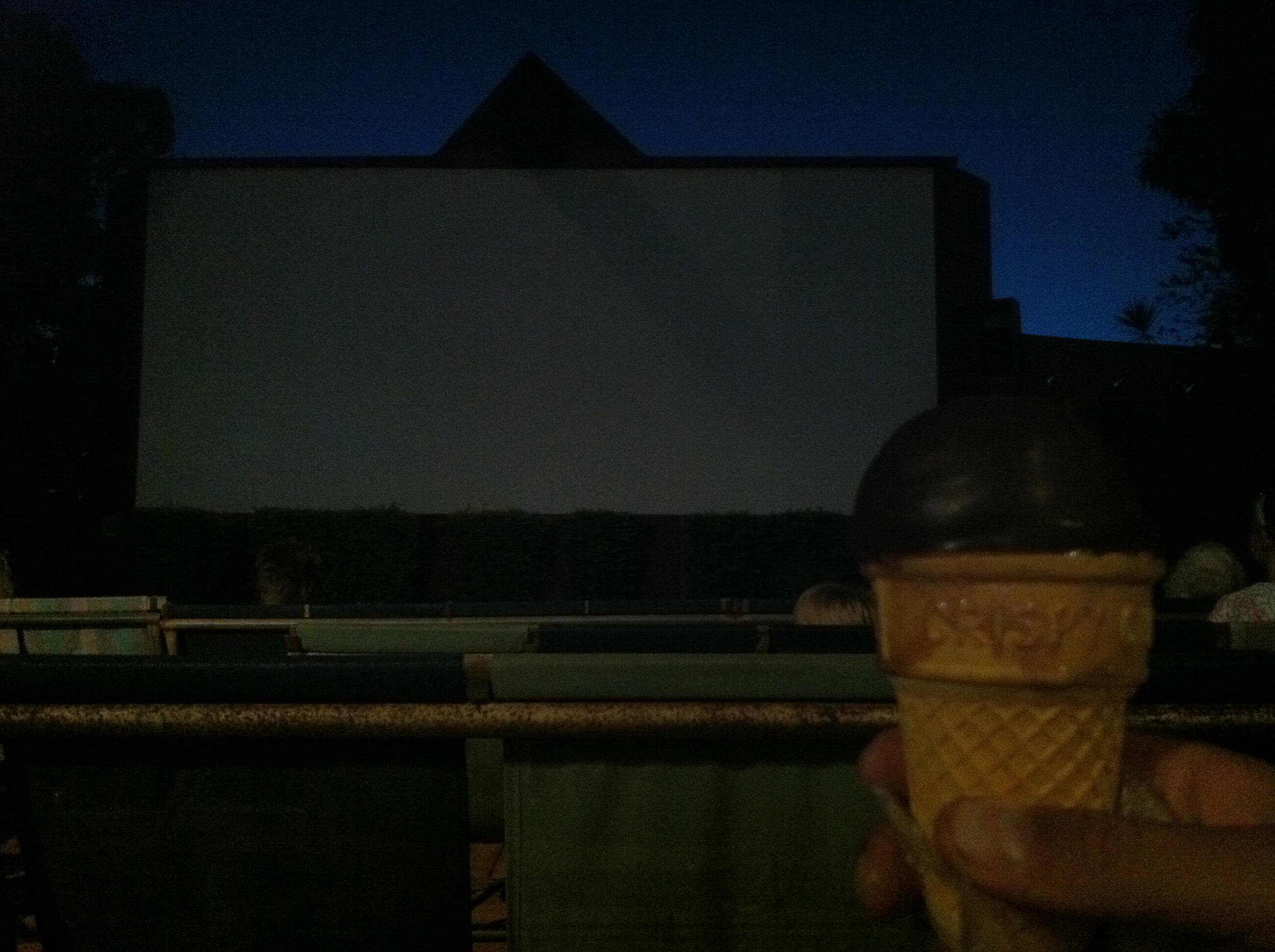 Enjoying a choc top at Sun Pictures.
