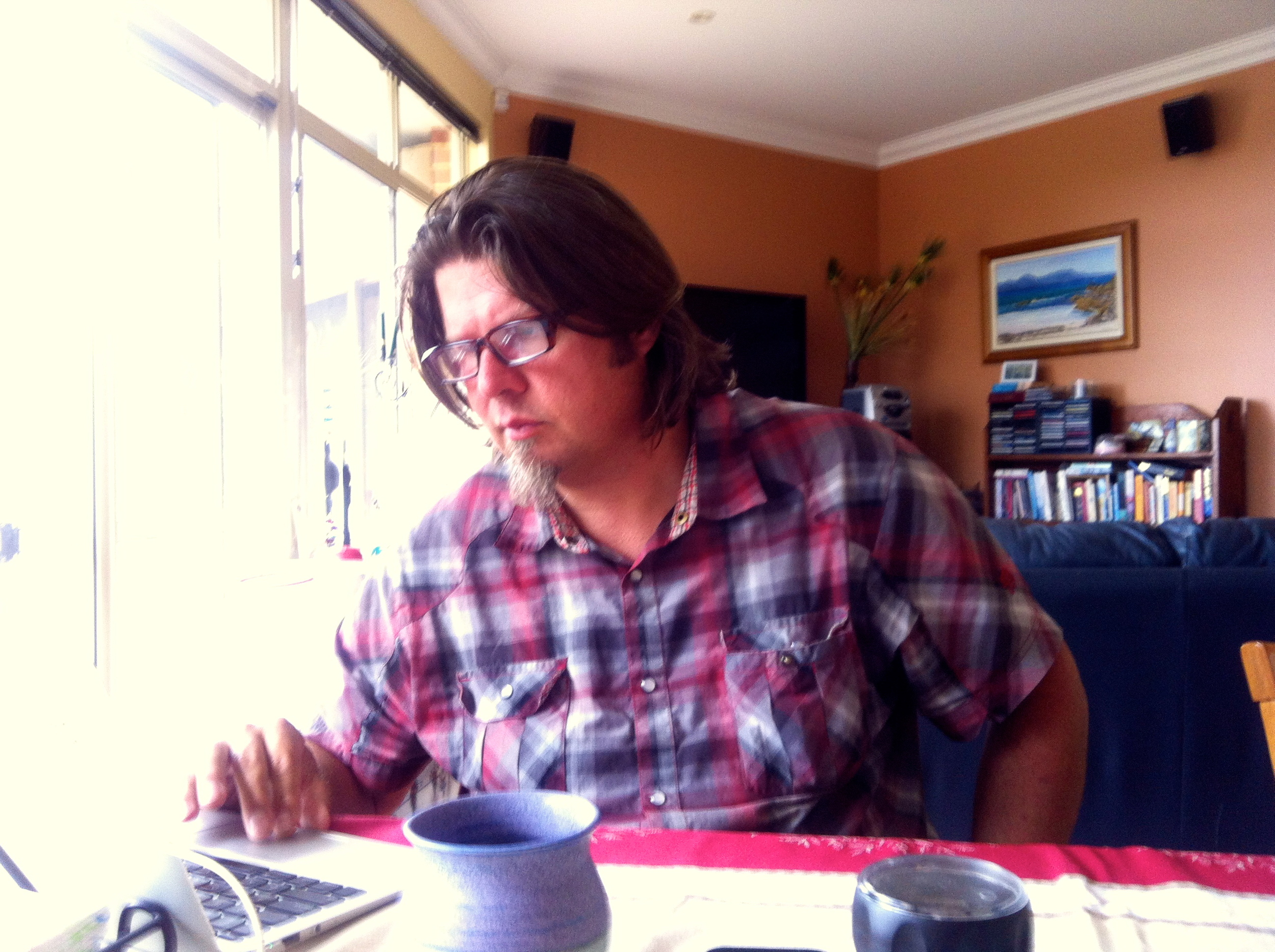 Kev researching his BMW bike parts.