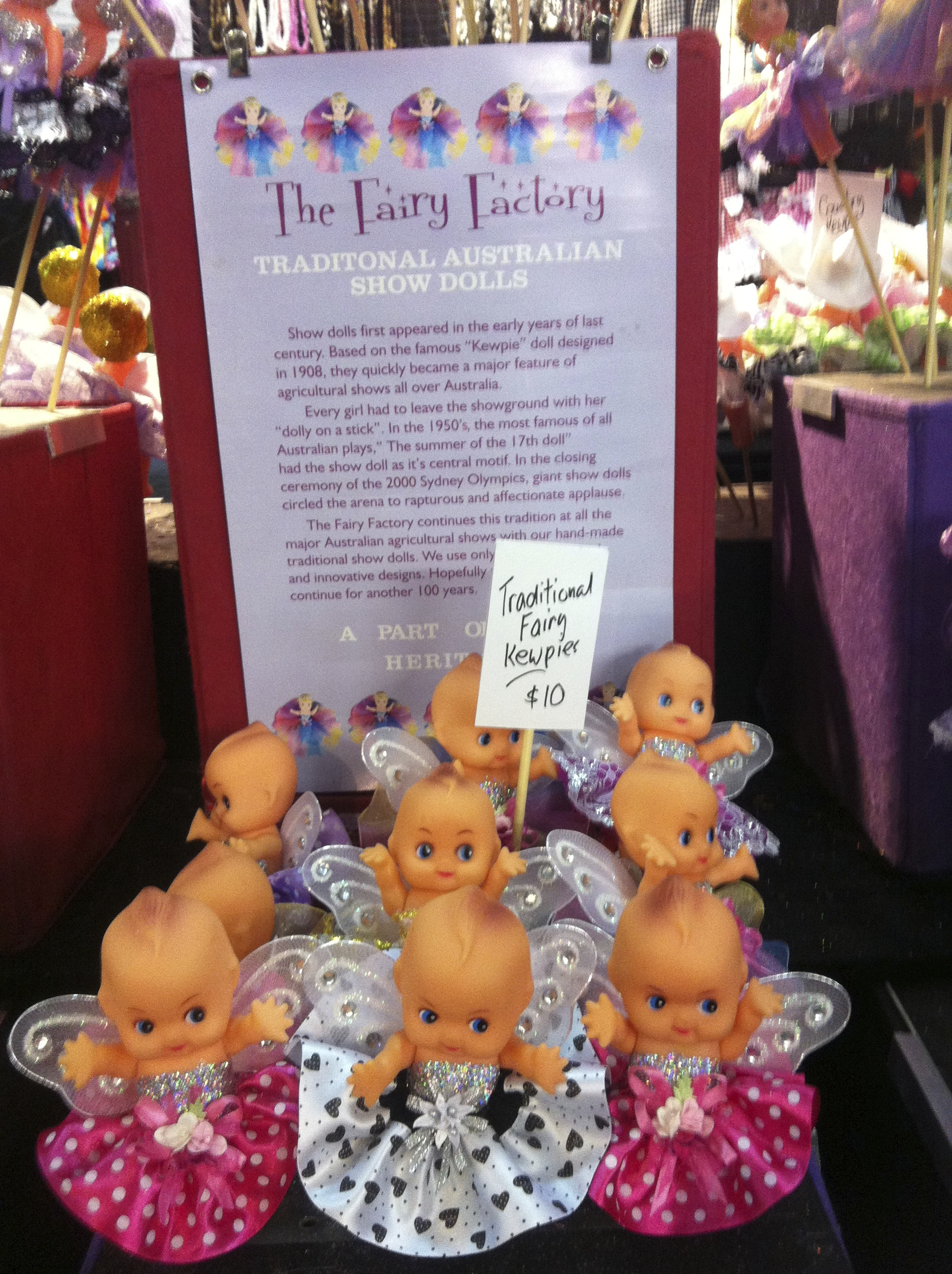 """Australian """"Kewpie"""" dolls at the Royal Melbourne Show. As a young girl you would n't leave the show without one, or two...I don't know about now!"""