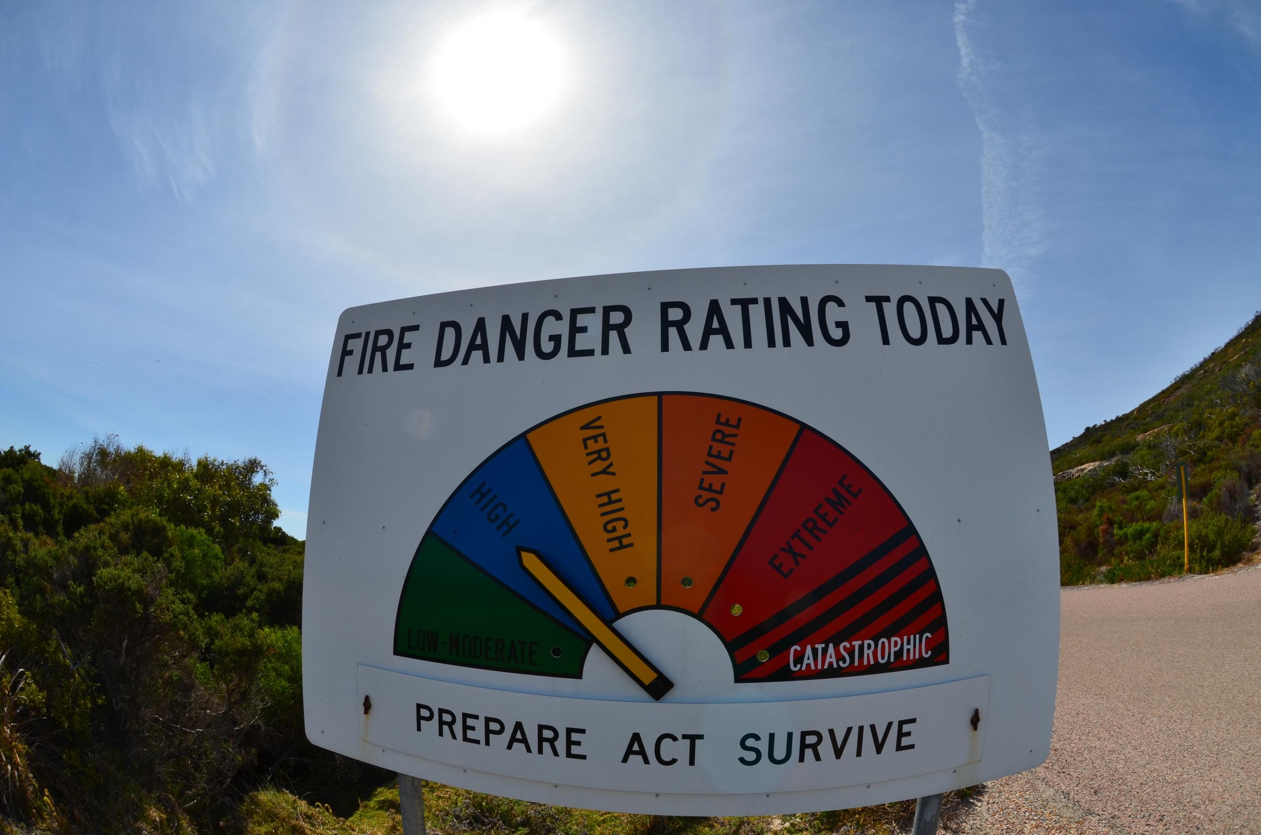 Cape Le Grand fire danger rating sign.