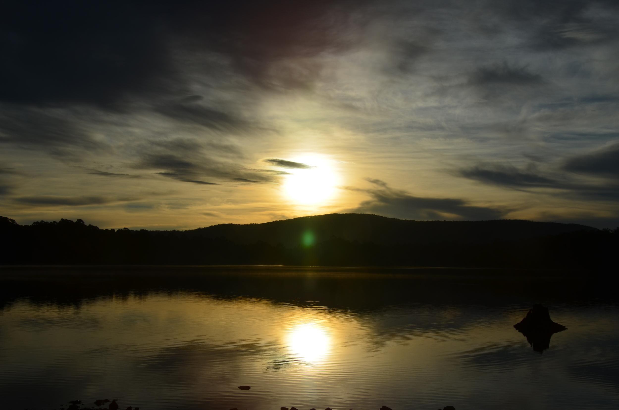 The sunrise over Lake Binney.