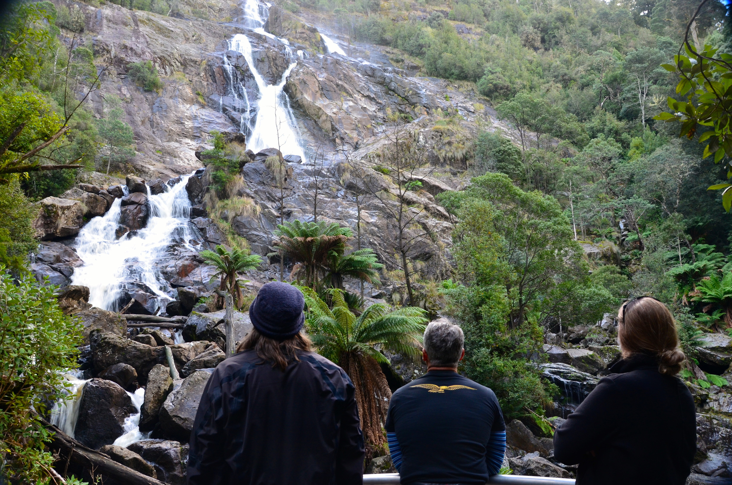 Kev, Brian and Chrissie checking out one of the tallest waterfalls in Tasmania, St. Columbia Falls!