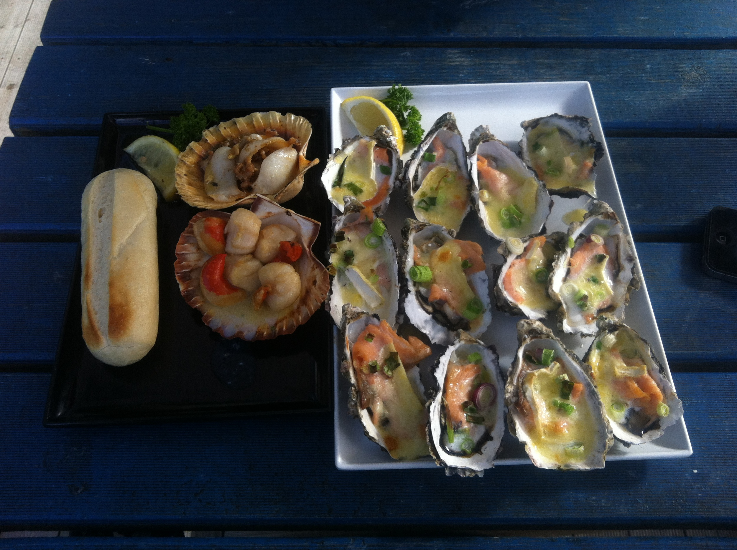 lunch....oysters, scallops and abalone