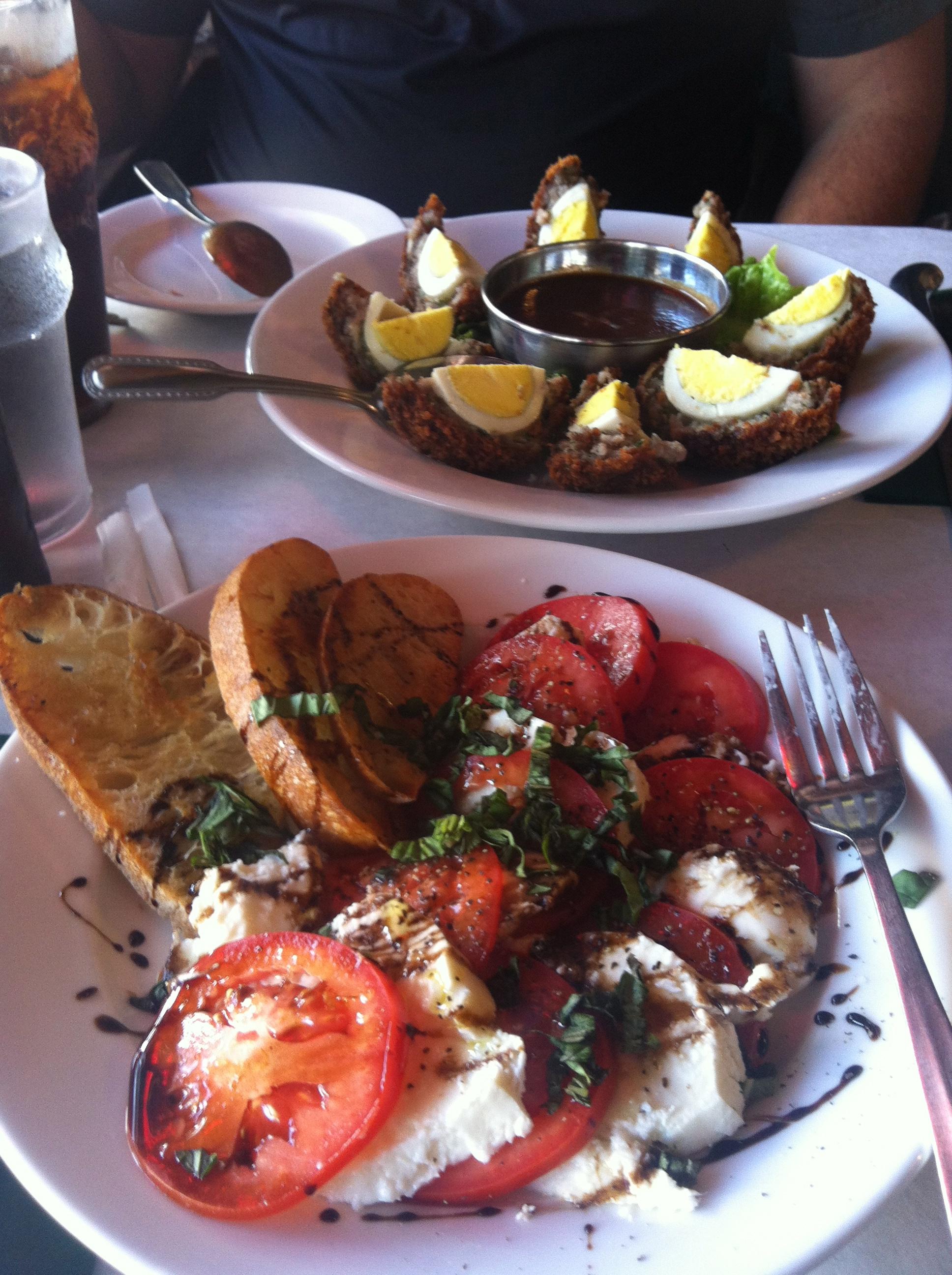 Lunch in Hamilton...Scotch eggs & Tomato fresh Buffalo Cheese
