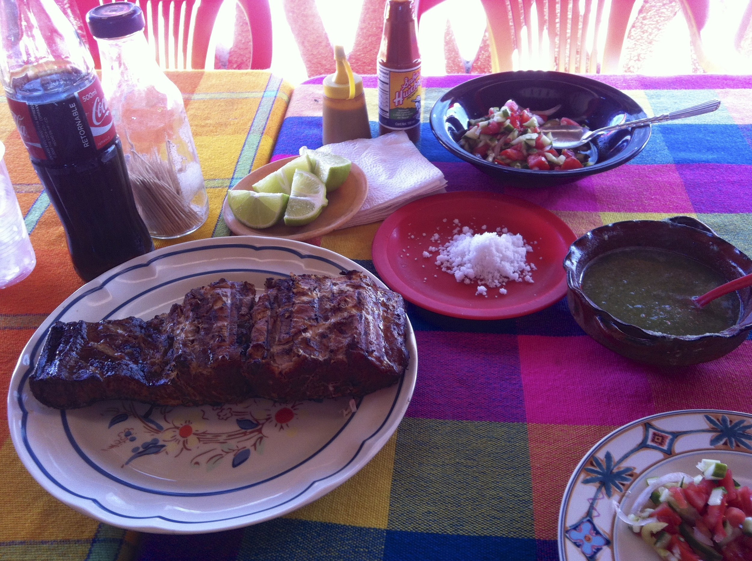 Our lunch of fresh bbq'd marlin, frijoles, salsa fresco, salsa picante, lime, queso and a CoKA!