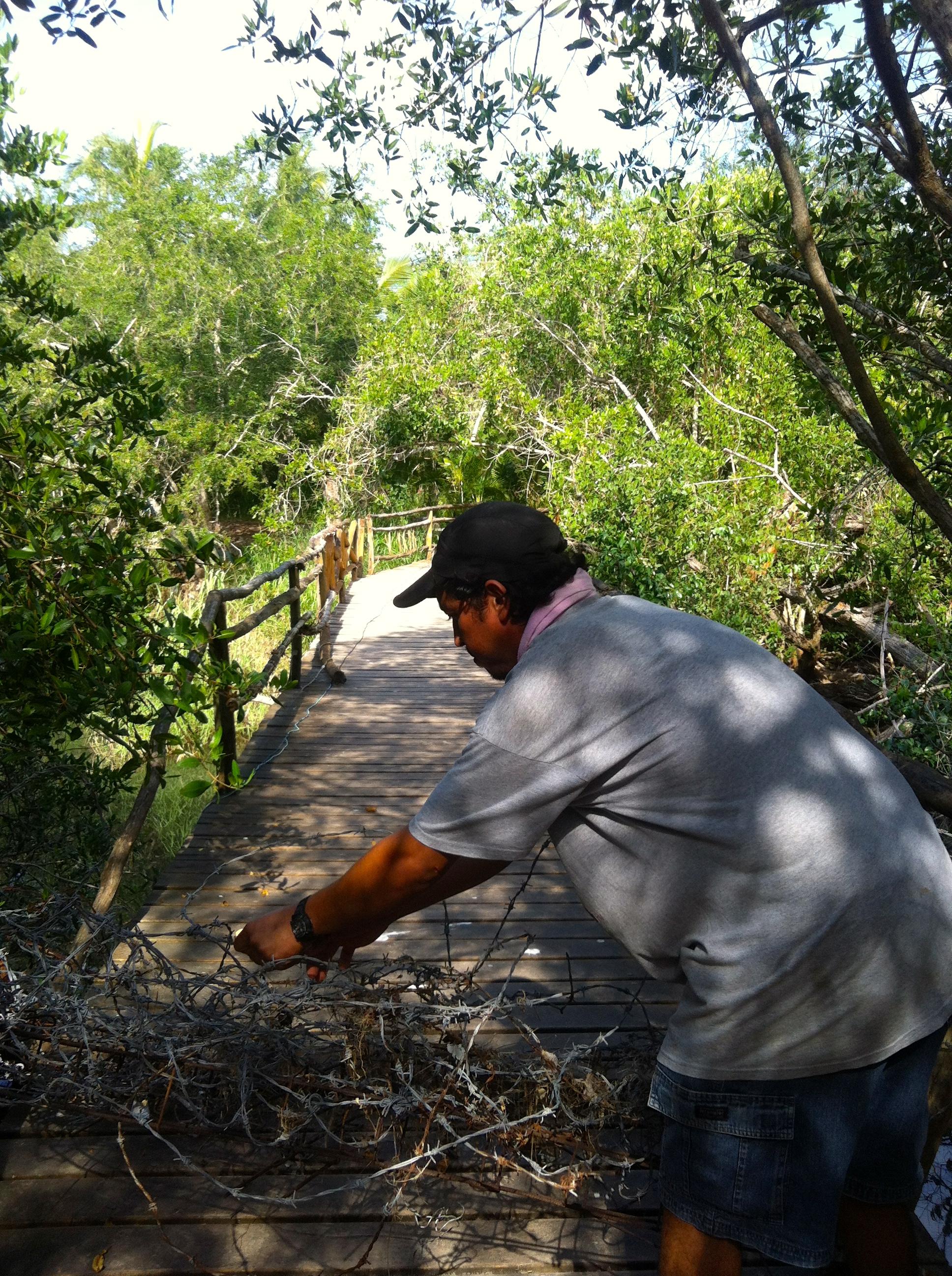 Alejandro showing us the iguanas and crocs