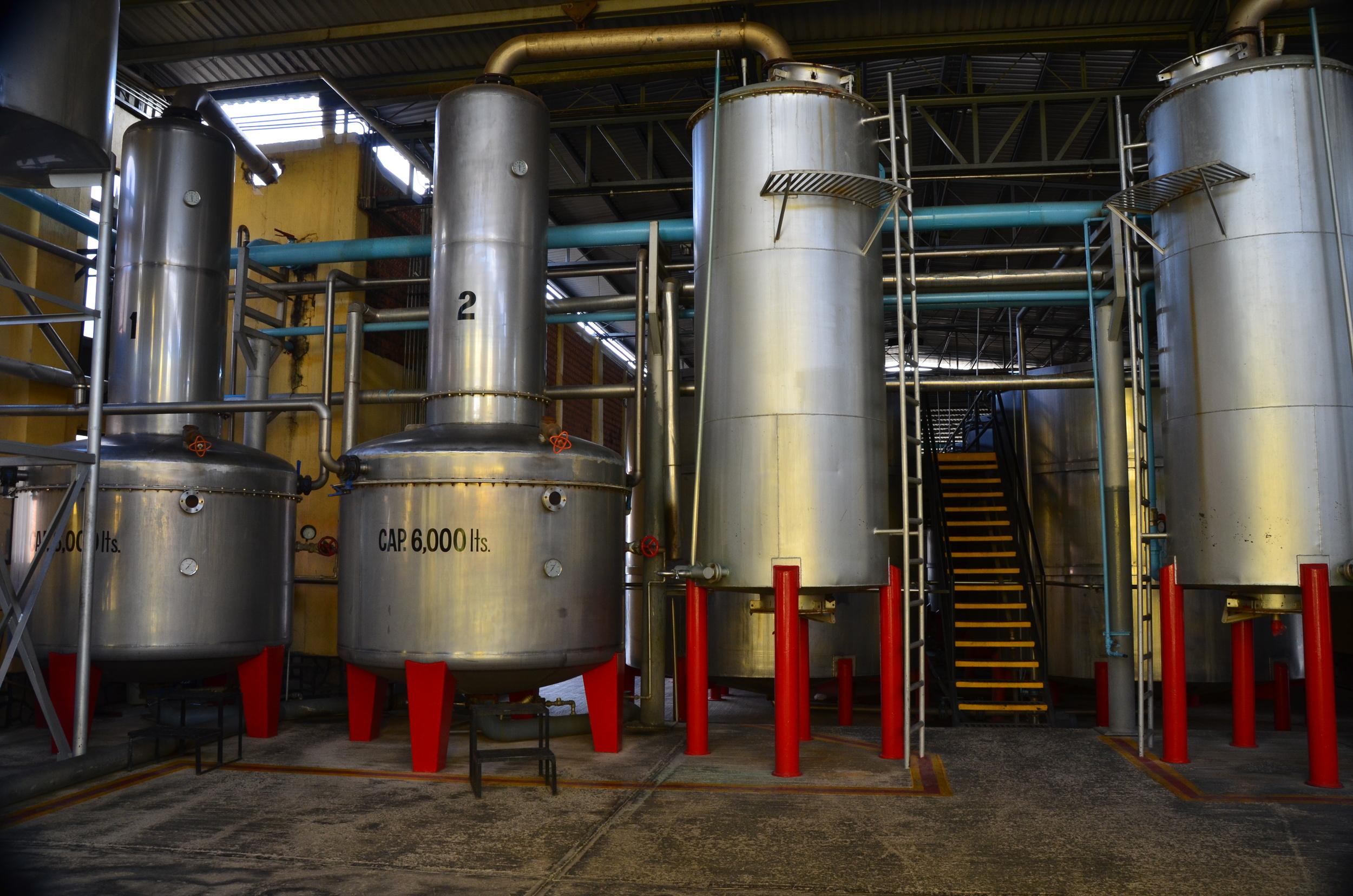 The distillation vats