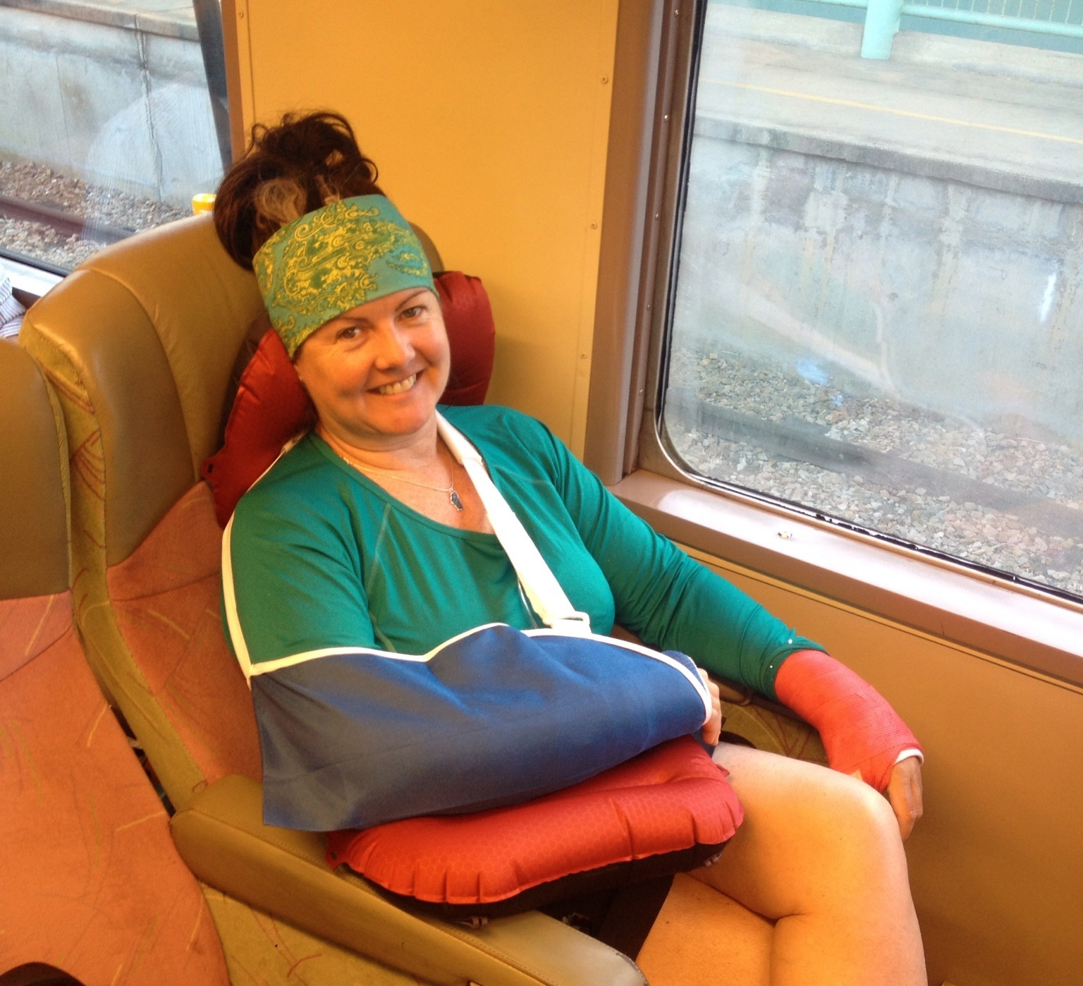 Heading back to Melbourne for surgery, on steel wheels, the train!