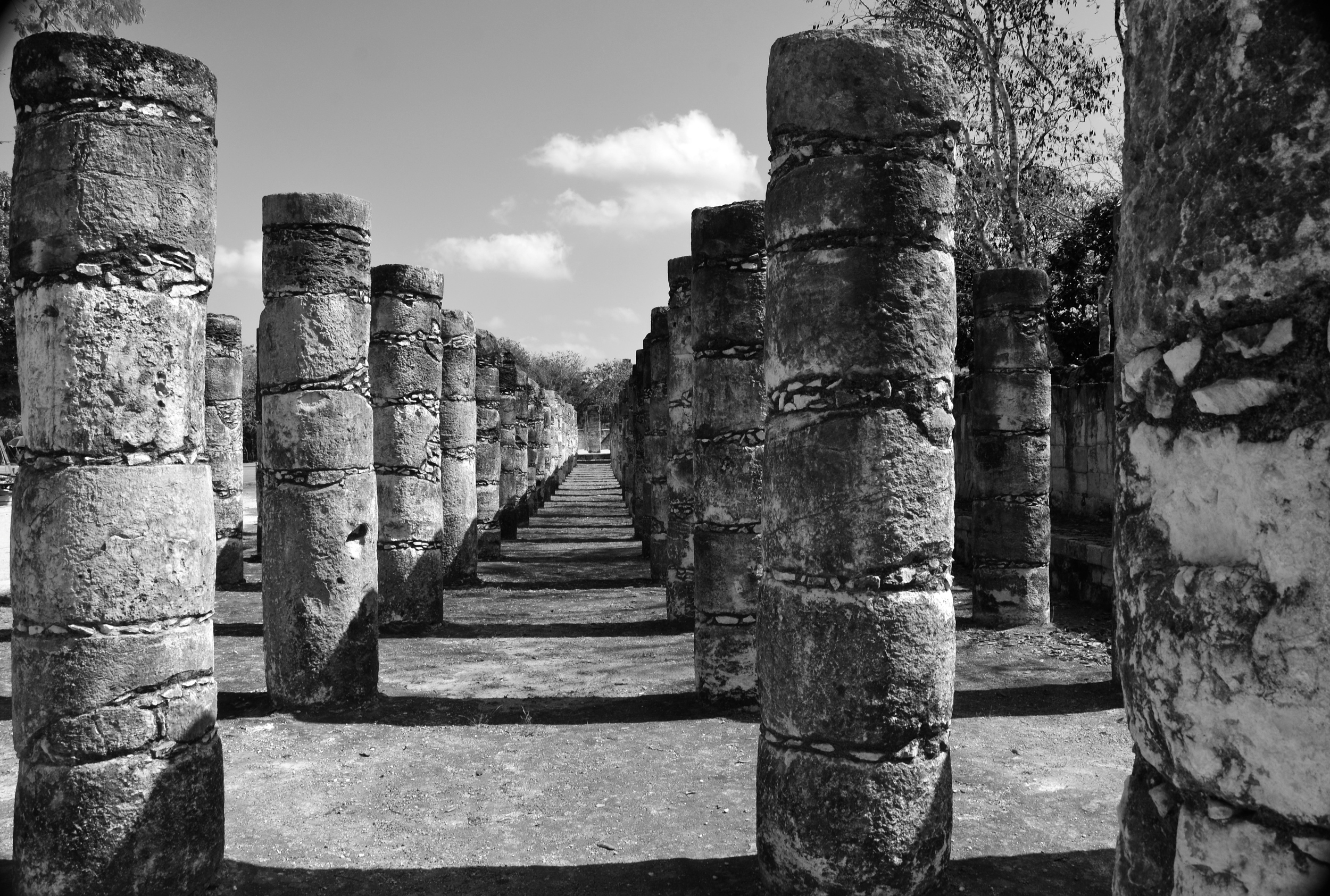 Impressive rows of warriors guarding the Temple de los Guerreros.  The carving detail has long  eroded away.