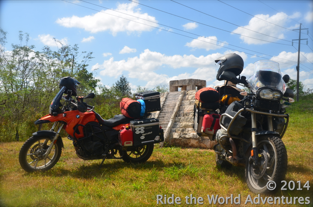 Either the ruins are getting smaller or our bikes are getting larger!…Great photo op on the road out of Rio!