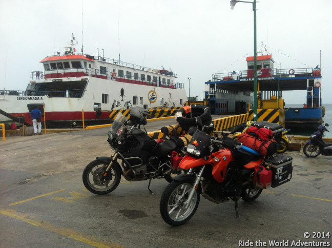 Waiting to load on the ferry to Cancun