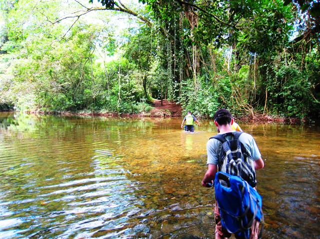 We needed to cross a few rivers in the jungle on our way to the cave.