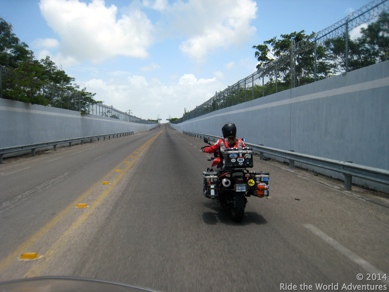 Riding into neutral zone and towards Belize.