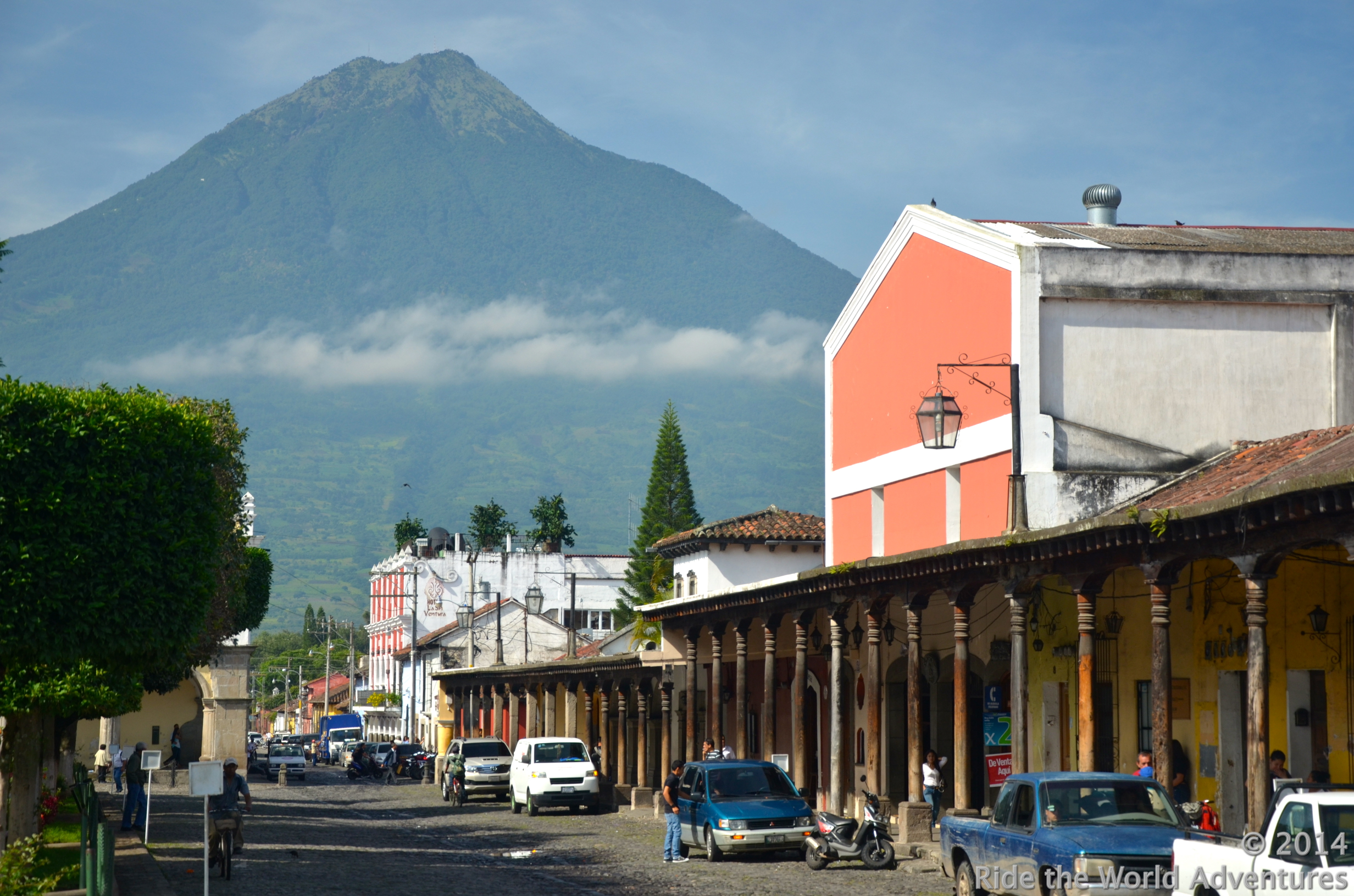 "Amazing colonial La Antigua nestled under Volcan Agua.  Still active the 3,760 meter/12,335 feet prehistoric marvel was named ""water"" by the Spanish colonists who witnessed the giant spew rivers of water and rock over their city in 1541."