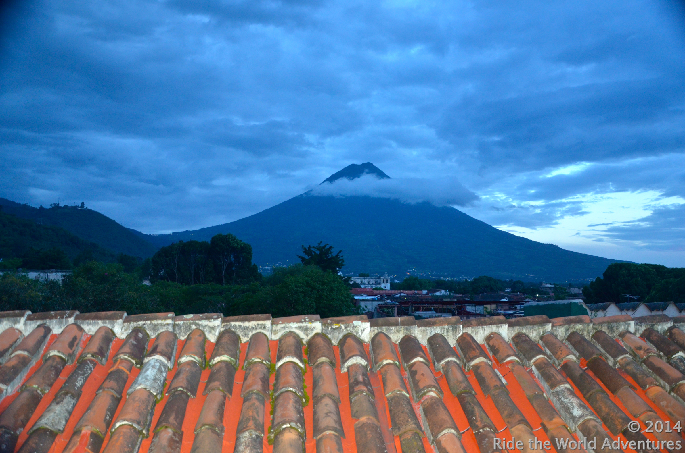View of Volcan Agua from the roof top above our room.