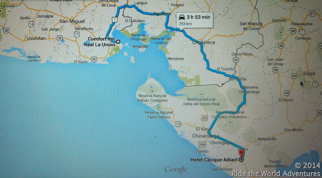 Our route today taking us through 2 border crossings.
