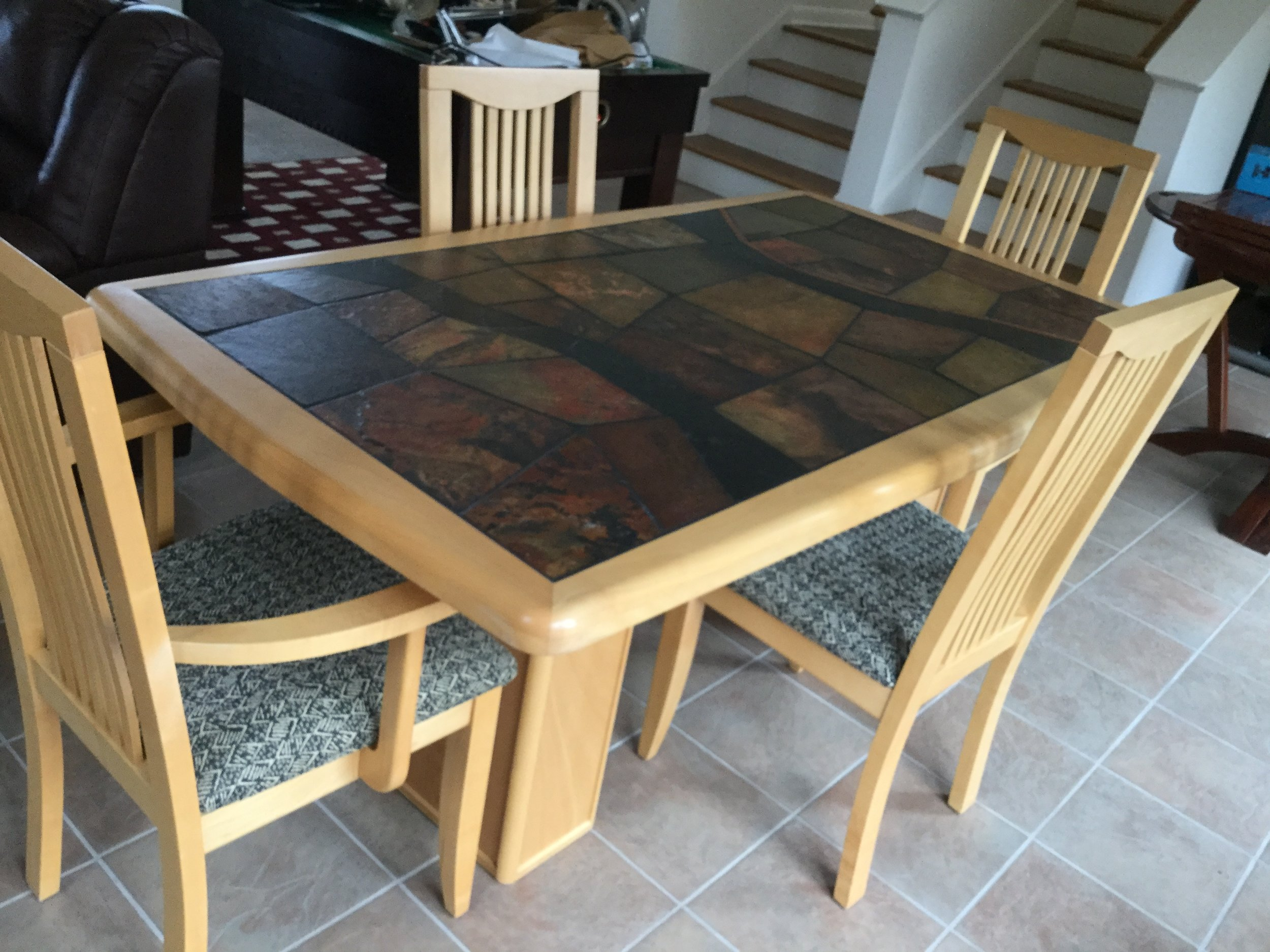 Slate-top table and 4 chairs