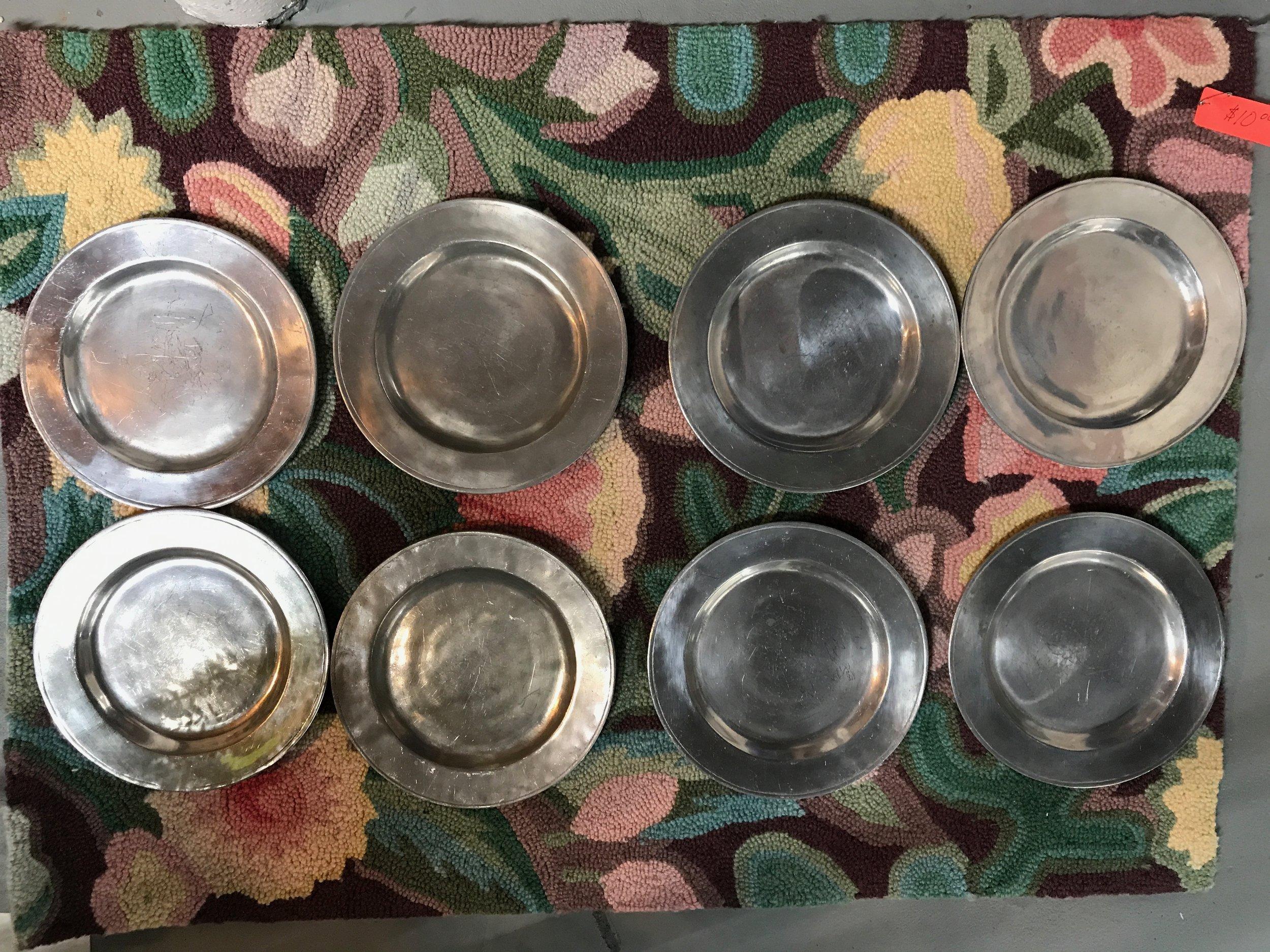 8 Vintage Armetale Pewter Plates