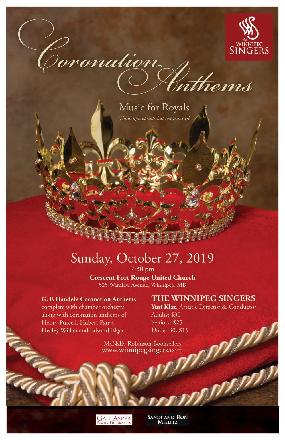 Winnipeg Singers, Concert 1: Coronation Anthems, poster