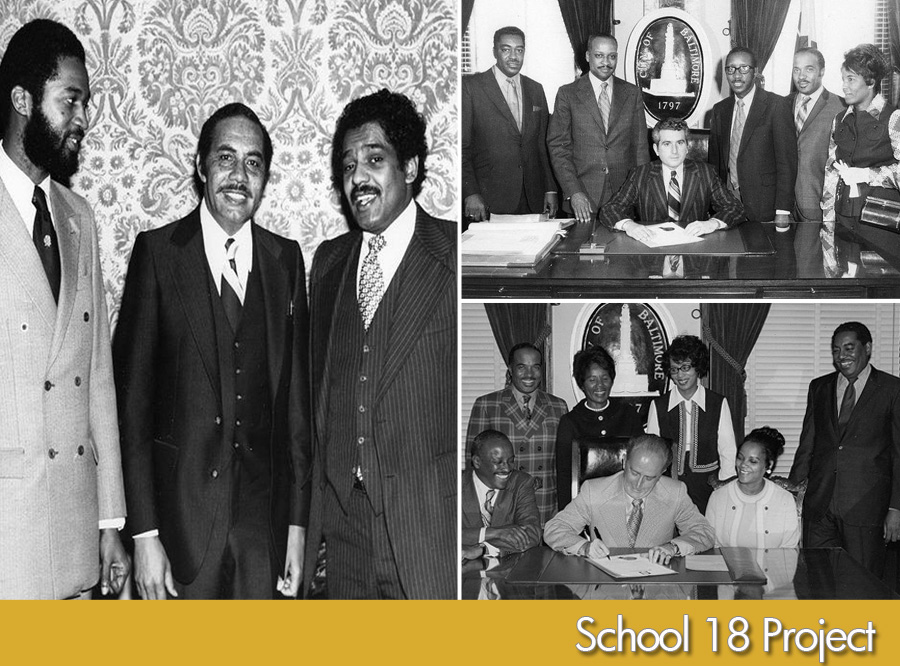 (l to r) First from right Councilman and attorney Michael Mitchell (circa 1970's), 2nd photo(circa late 1960's-71): Mayor Thomas D'alesandro seated. Second from left Attorney George L. Russell, Jr; Dr. Elijah Saunders, Assoc. Dir. Charles G. Tildon, Jr. / Bottom photo(circa early 1970's): Mayor William Donald Schaefer seated. at left seated-George L. Russell, Jr. at left standing-Charles G. Tildon