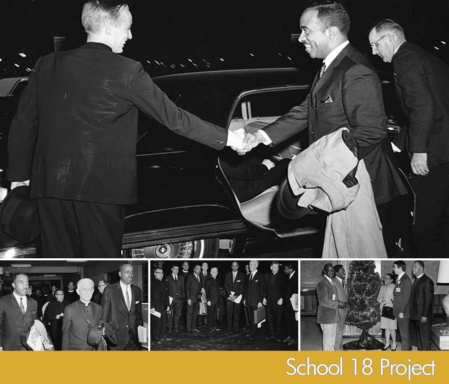 Associate Director Charles G. Tildon Jr. shaking hands with Bishop P. Francis Murphy circa-late 1960's-1970. Bottom(l to r) Tildon, Jr., Lawrence Cardinal Shehan, George L. Russell, Jr. | Far right photo: Councilwoman Victorine Q. Adams standing by Christmas tree