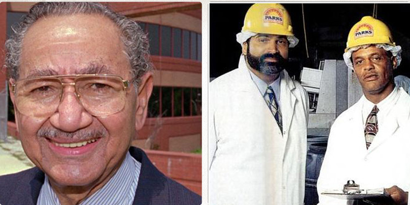 (left) The late Raymond Haysbert, former head of Parks Sausage (right) Franco Harris and Lydell Mitchell who would lead the company in the second half of the 1990's