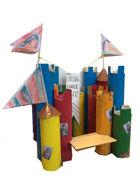 I used wooden skewers and yarn as flag holders andornamental paper for the flags and towers.