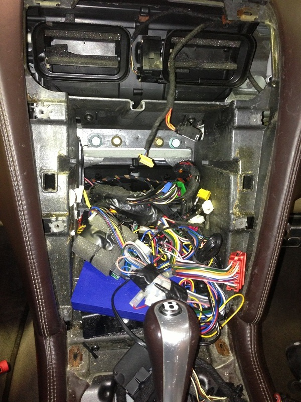The before shot of what we found on removal of the infotainment system.