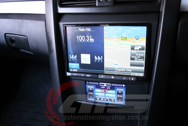 Split screen display with full control via a steering wheel interface.