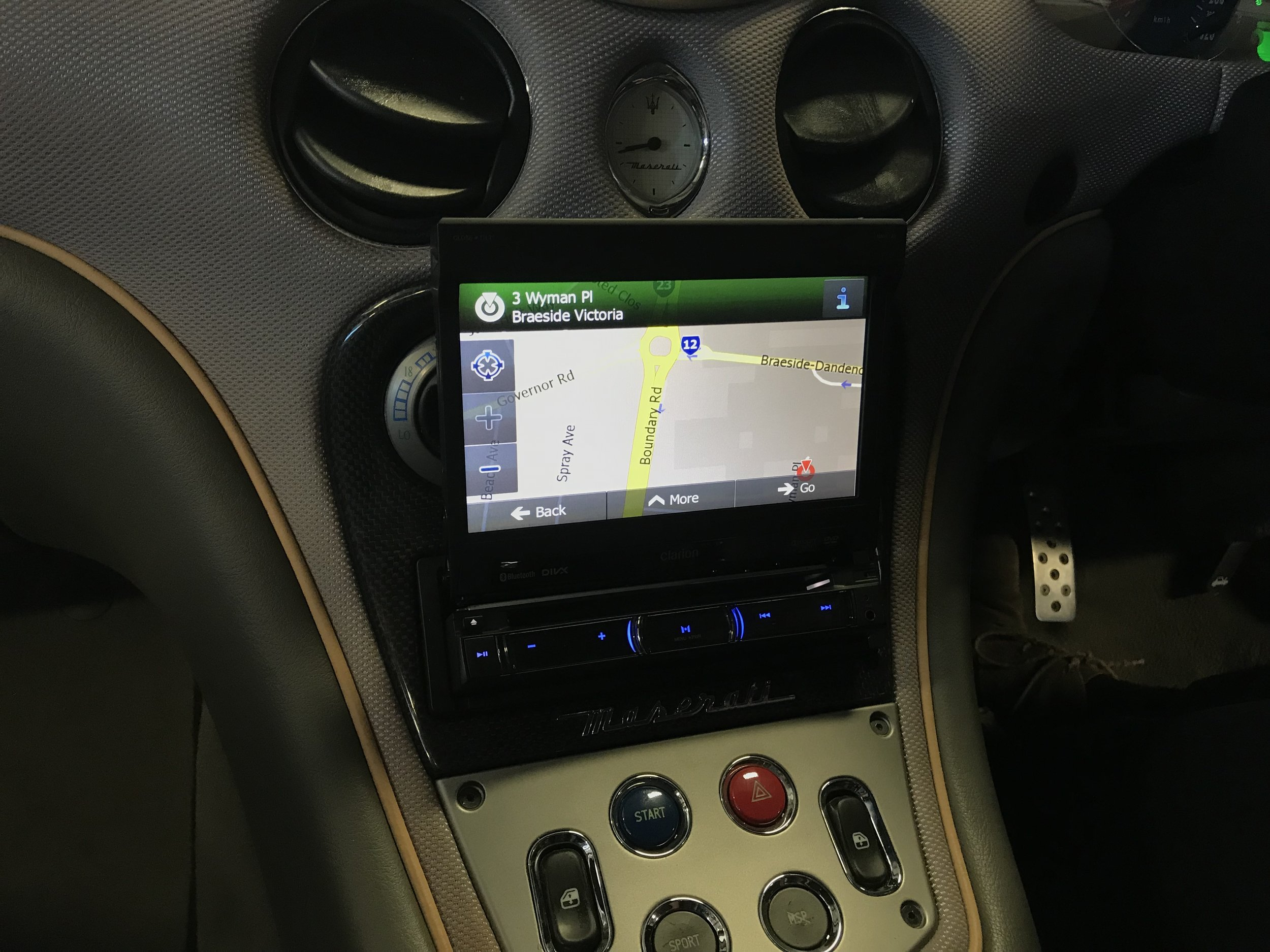 The high resolution screen folds out to display the premium navigation software