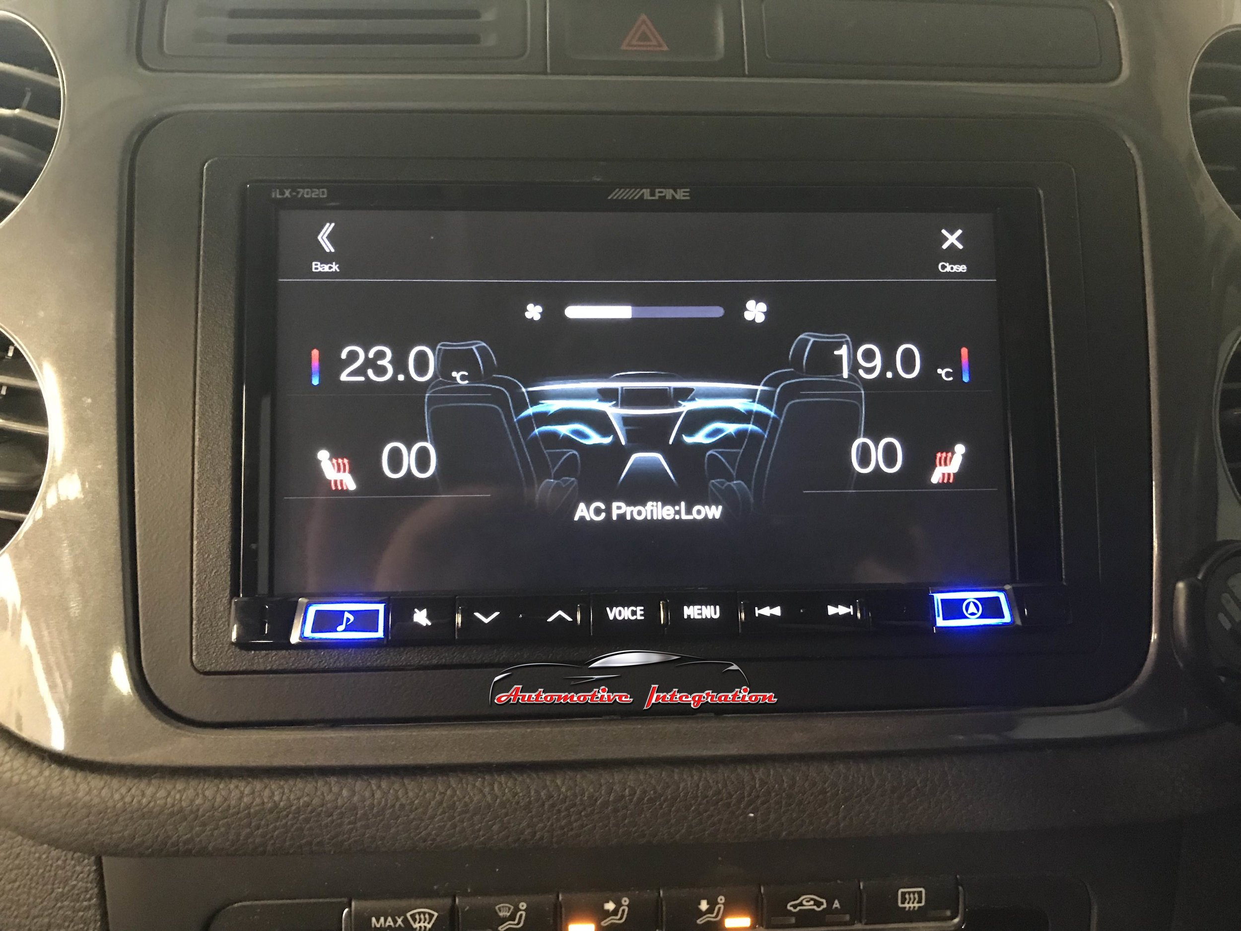 Factory Climate control displayed on the ILX-702D