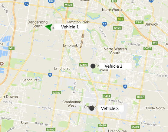 Multiple vehicles being tracked simultaneously on AIS Live. The arrow shows a moving vehicle while the black dots are stationary vehicles
