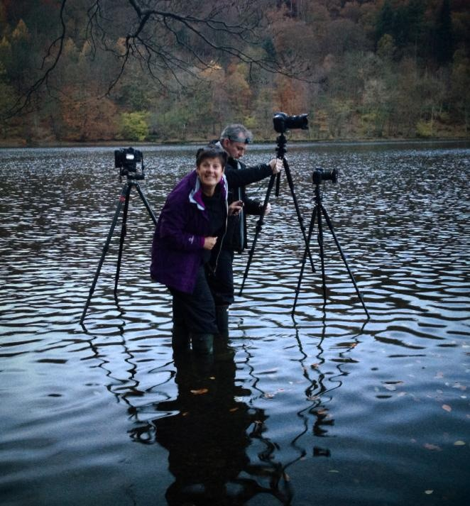 Joyce on her first location workshop - Nov 2013 at 6am in cold water at Grasmere. In at the deep end!
