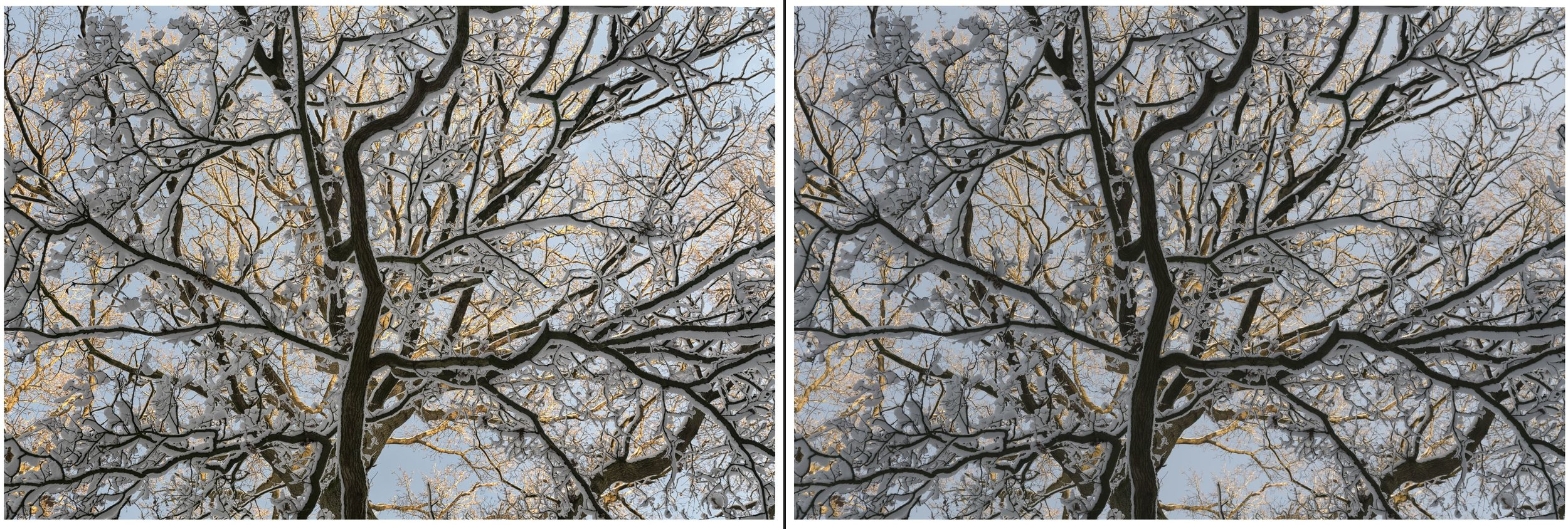RAW on left, processed on right