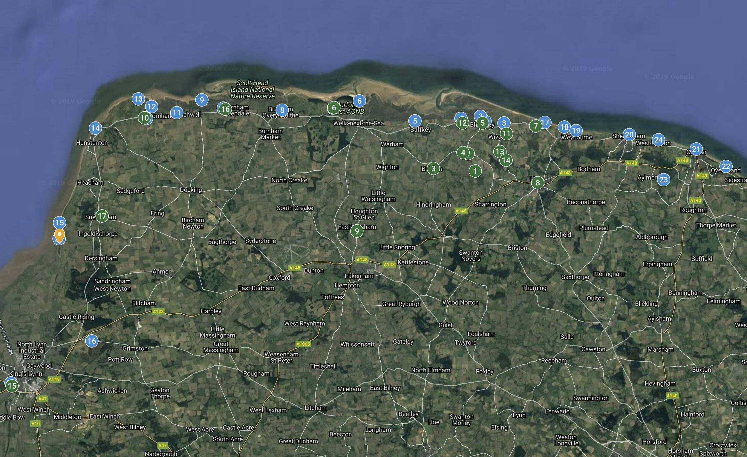 North Norfolk Location Map