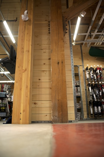 The dividing line between the original store and the expansion. The new pillar on the left and the original on the right