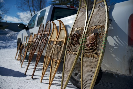 Different shaped snowshoes, each with their own purpose depending on the snowfall