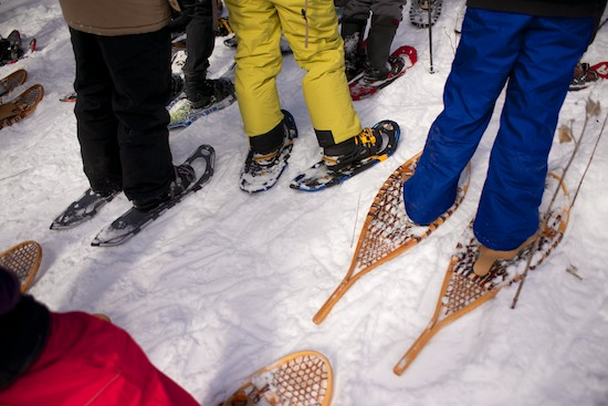A variety of snowshoes, both old and new