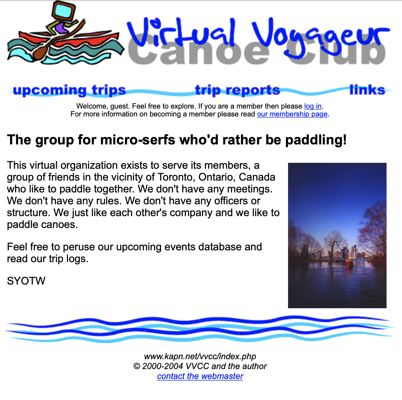 Screenshot of the homepage circa 2004